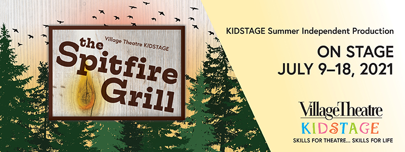 A sign reading The Sptifire Grill pops up in a forest of trees with a sunset full of birds behind it.
